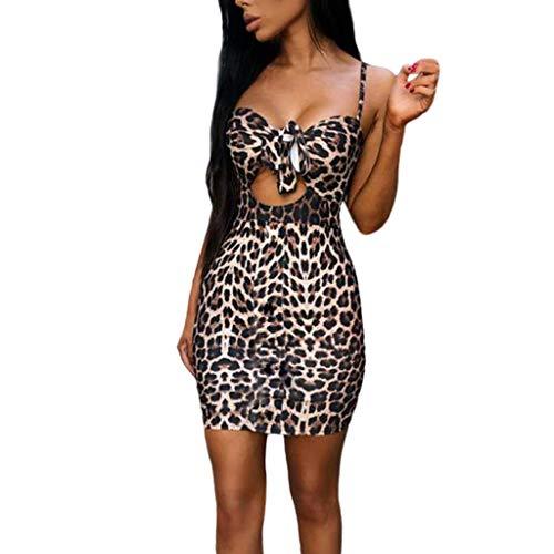 SIOPEW Mode Frauen Sexy Leopard Print Lose Sling Eingewickelte Brust Minikleid(Brown,L) Leopard-print-poncho