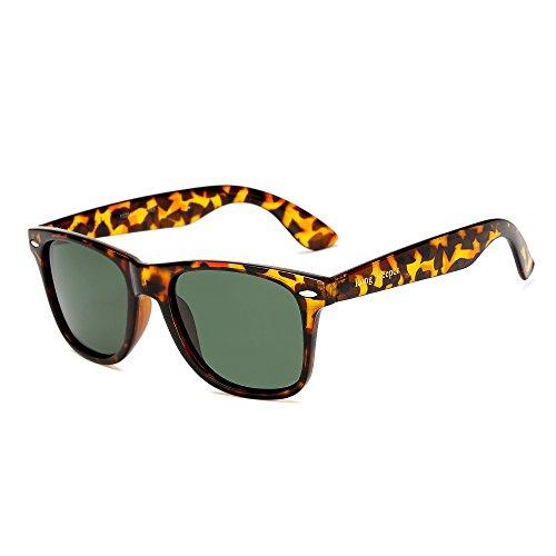 Long Keeper Polarisierte Sonnenbrille Klassische Jahrgang Platz Sonnenbrille für Frauen Männer (Leopard)