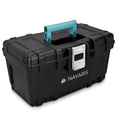 Navaris Boîte à Outils Vide - Boîte Rangement Outillage 40 cm en Plastique avec Poignée Solide et Verrou en Acier - Caisse de Capacité 19L