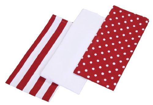 Homescapes Geschirrtücher Set Polka Dots 3tlg, rot weiß ca. 50 x 70 cm, Geschirrhandtücher aus 100% reiner Baumwolle, waschbare Trockentücher Geschirr (Rot Geschirrtuch)
