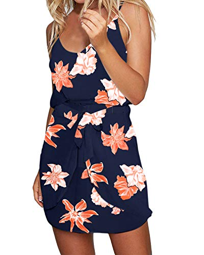 ACHIOOWA Sommerkleid Damen Ärmellos Strandkleid Chiffon Rock Bohemian Casual Mini Schulter Overall Playsuit Blumen-A99593 XXL -