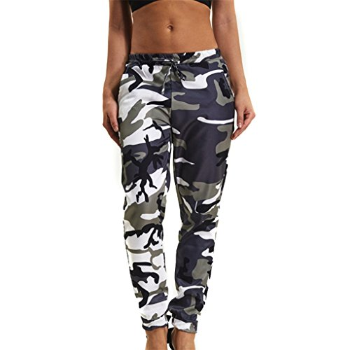 JYJM Damenbekleidung Damenhosen Sporthosen hosen Frau Tarnung gedruckt Jeans Harem Hosen Frauen Sport Camo Cargo Hosen Outdoor Casual Camouflage Hosen Jeans (XL, Armee-Grün) (Denim Armee)