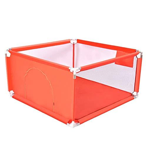PNFP Baby-Laufstall-Kindersicherheitszaun-Spiel-Yard, tragbarer 6 Platten-Kind-Baby-Innenaußensicherheits-Spiel-Zaun - 128 × 128cm (Color : Orange)