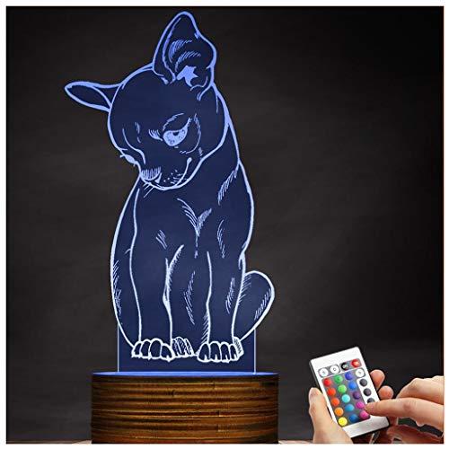(Chengyd Optische Täuschung 3D LED Lampe Corgi Dog Nachtlicht, USB Powered Remote Control ändert die Farbe des Lichts, Weihnachten Home Love Geburtstag Kinder dekorative Spielzeug Geschenke)