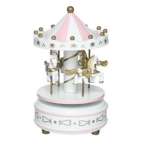 niceeshop (TM) Karussell Musik Box Holz Karussell Pferd Musik Box Weihnachten Geschenk, holz, Rosa/Weiß, 18x11cm/7x4.3inch (Pferd Dekorativen Geschenk-box)