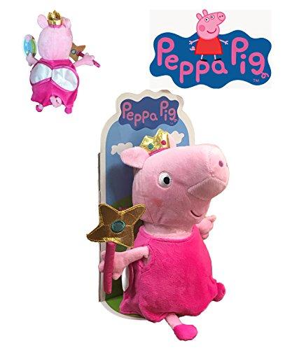 Peppa pig - peppa peluche travestito da fata con bacchetta e ali 27cm blister - qualità super soft