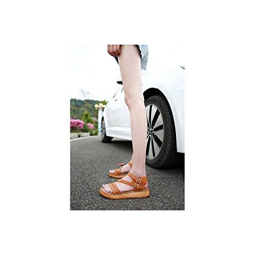 Sandali Boucle da donna bassi con cinturini alla moda (Marron)