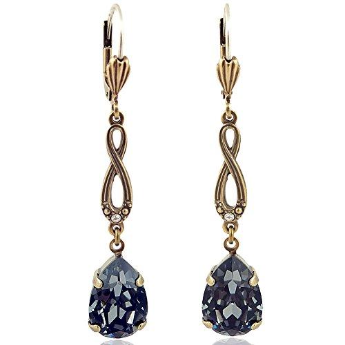 Jugendstil Ohrringe mit Kristallen von Swarovski Gold NOBEL SCHMUCK