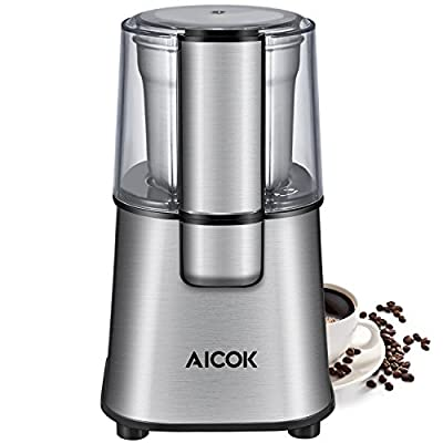 Aicok Coffee Grinder, Electric Spice and Coffee Grinder with Stainless Steel Blades and Removable Coffee Powder Bowl (200W), Silver