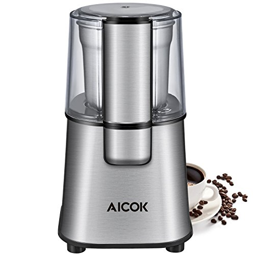 Aicok, CG9100, Molinillo de Café Eléctrico, Molinillo de Especias y Café Eléctrico con Cuchillas de Acero Inoxidable y Taza de Polvo de Café Extraíble (220W), Plata