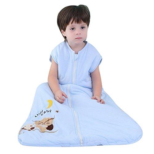 schlafsack baby winter mädchen junge Baumwolle Kinderschlafsack schlafanzug Eule blau - Ganzjährig 2.5 tog (110CM 18-36 Monate)