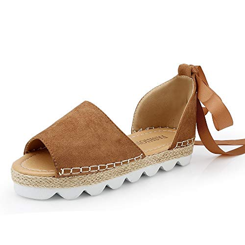 Sandalias Mujer Verano Alpargatas Plataforma Cuña Bohemias Planas Mares Romanas Playa Gladiador Tacon Zapatos Zapatillas Negro Beige 35-44 KH39