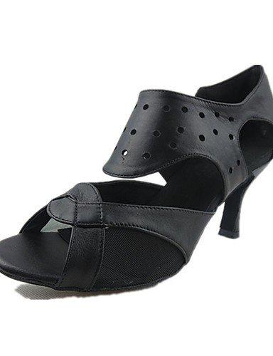 La mode moderne Sandales femmes personnalisables Chaussures de danse latine similicuir/Jazz/talons sandales talon intérieur personnalisé pratique/noir US5.5/EU36/UK3.5/CN35