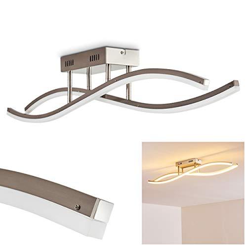 Deckenleuchte LED Atina - 12-flammige Deckenlampe mit geschwungener Lichtleiste, 3000 Kelvin, 2300 Lumen, Wohnzimmer-Lampe aus Metall in Nickel matt mit wellenförmigen Lampenschirmen, Zimmerlampe