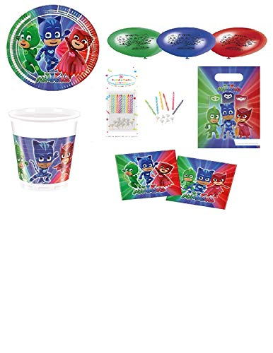 Mgs33 Kit Base PJ Masks Pyjamasques 50 Pièces, Anniversaire Complet 6/8 Enfants (8 Assiettes 23 cm , 8 gobelets, 20 Serviettes, 6 Sac Bonbons + 8 Ballons + 20 Bougies OFFERTES)