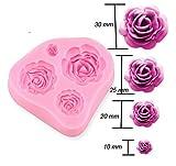 VWH 3D-Rosen-Blumen-DIY Kuchen Dekorieren Fondant-Silikon-Zuckerfertigkeit Mold