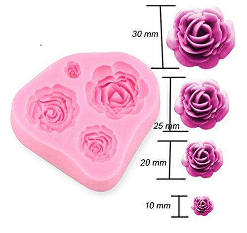 VWH 3D-Rosen-Blumen-DIY Kuchen Dekorieren Fondant-Silikon-Zuckerfertigkeit Mold, Mini