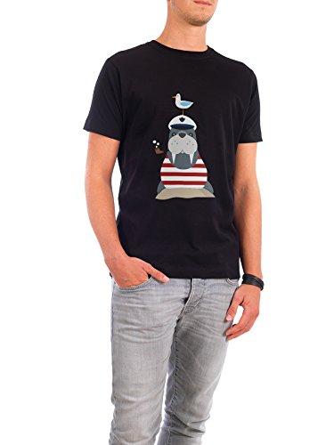 """Design T-Shirt Männer Continental Cotton """"Walross im Badeanzug"""" - stylisches Shirt Tiere Abstrakt Kindermotive Comic von Andrea Stiegler Schwarz"""