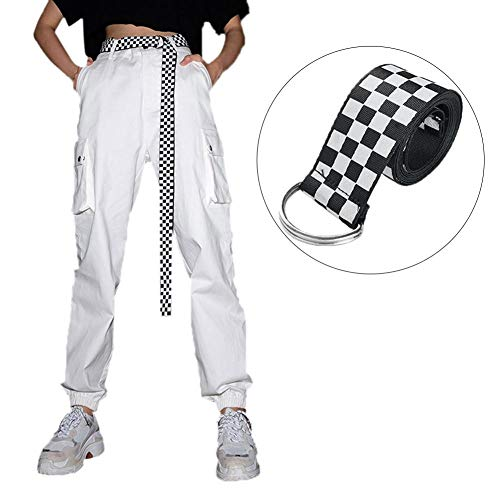 Cintura da Donna Cintura a Scacchi Cintura da Cintura Cintura Nera Cintura a Scacchiera Bianca 135cm
