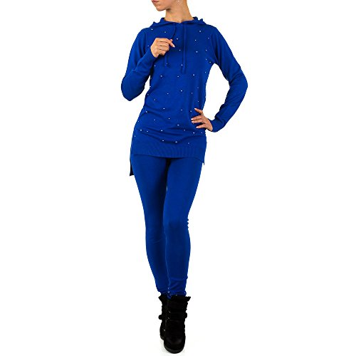 Schuhcity24 Damen Anzug 2 Teiler Hose Blazer Jacke Bluse Hemd Perlen Blau S/M
