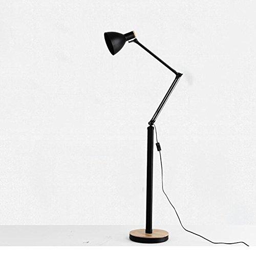 Stehleuchten Eisen Holz moderne minimalistische Kreativ Rocker Stehlampe Wohnzimmer Schlafzimmer Bett Stehlampe, zwei Farben optional zum Lesen ( Farbe : Schwarz )