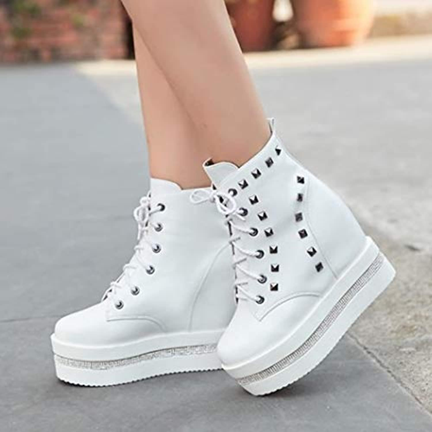 9fcc78dc76dd ZHZNVX Women s Shoes PU(Polyurethane) Fall   Winter Winter Winter Fashion  Boots Bootie Sneakers Wedge Heel Round Toe Booties... B07H1GCS88 Parent  83ab15