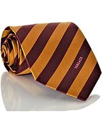 Versace Men's Striped Woven Silk Necktie Gold