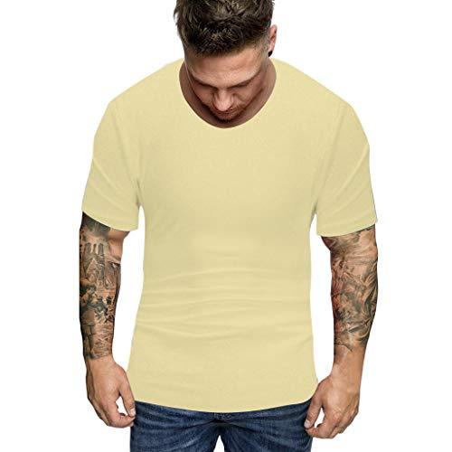 Tyoby Herren T-Shirt Unterhemd Stretch V Neck Basic Unifarben Oberteil T-Shirt Slim Fit Basic Bequemes Top(Gelb,XXL)