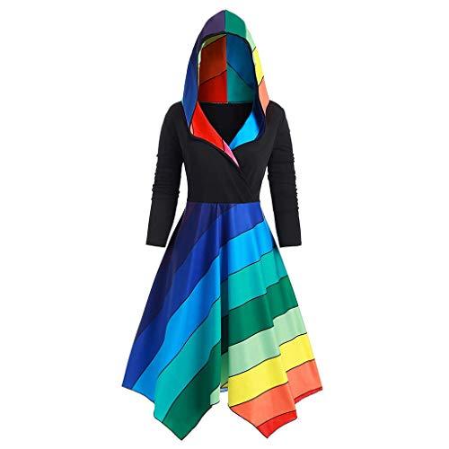 Shenye Damen Regenbogen gestreifte nähte Kapuze Kleid spleißen dip saum Drop Schulter Mittelalter bodenlangen Cosplay Kleid Alter Mittelalter Kleidung Renaissance kostüm Halloween kostüm große größen -