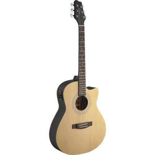 Stagg Electroacústica Cutaway Auditorium Guitarra con Parte Superior de tilo