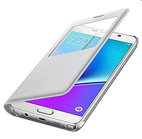 [Weiss/White] Samsung Galaxy Note5 S View Cover S-View Flip Schlank Etui EF-CN920P fur Samsung Galaxy Note 5 (SM-N920) - Retail