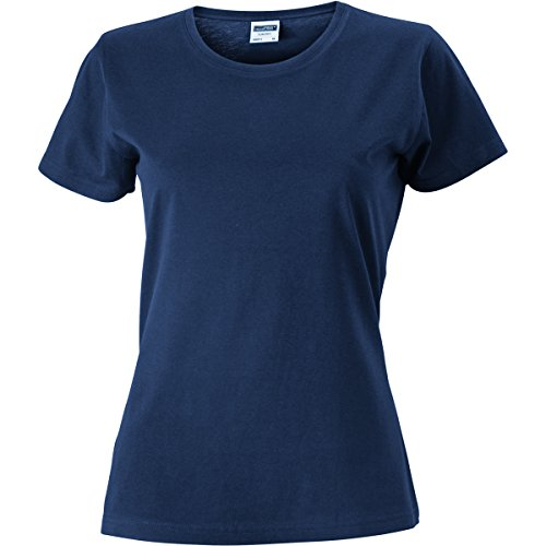 JAMES & NICHOLSON Damen T-Shirt, Einfarbig Marineblau