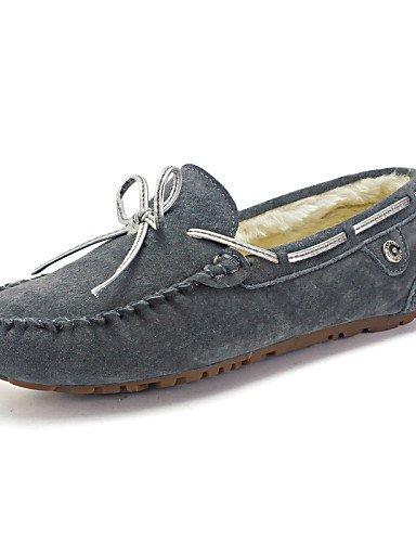 ZQ Scarpe Donna - Mocassini - Tempo libero / Casual / Scarpe comode - Decolleté con cinturino / Pantofole - Basso - Pelle -Marrone / Grigio , gray-us8.5 / eu39 / uk6.5 / cn40 , gray-us8.5 / eu39 / uk6 khaki-us7.5 / eu38 / uk5.5 / cn38