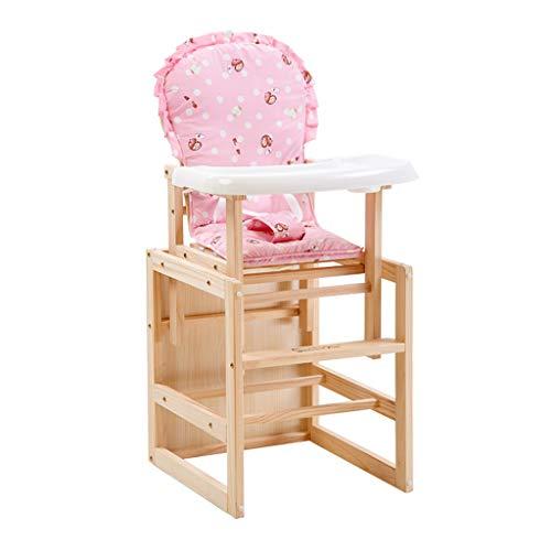 Poussette Pliable Chaise Haute Chaise de Salle à Manger pour Enfant Chaise de Salle à Manger en Bois multifonctionnelle pour bébé avec Ceinture et Coussin
