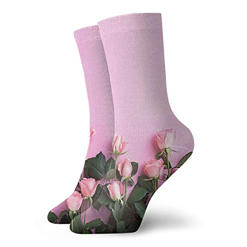 dfegyfr Pink Rose Crew Socks Casual Funny For Sports Boot Hiking Running Etc.