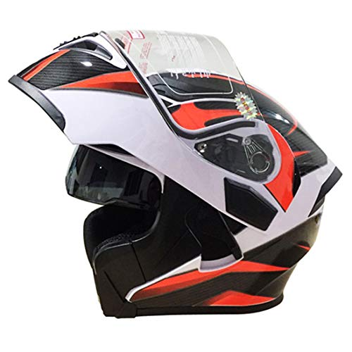 Mr·J motorradhelm integralhelm, Motorrad Roller Sturz Helm mit Sonnenblende Scooter-Helm Mofa-Helm ECE Visier Schnellverschluss Tasche,Orange,L