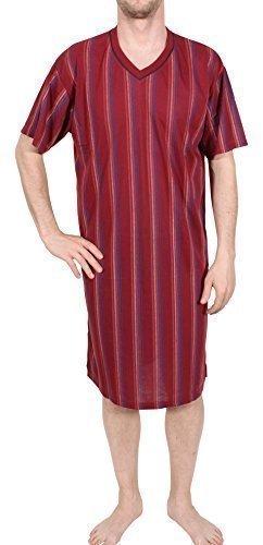 Herrennachthemd, kurzarm, 100% Baumwolle, L XL XXL XXXL (XXL, bordeaux)