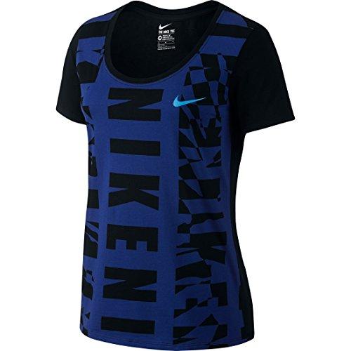 Nike Tee Splice Scoop T-Shirt Femme Deep Royal Blue/Black/Turf Orange