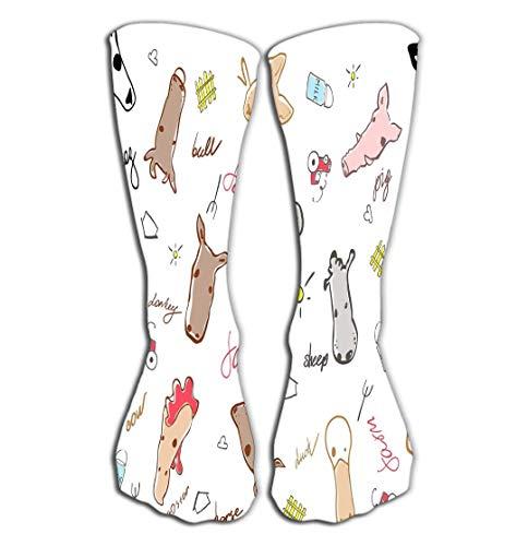 Outdoor-Sportarten Männer Frauen Hohe Socken Strumpf nahtlose Muster Nutztiere gemacht Cartoon-Stil Stier Kuh Maus Schwein Schaf Pferd Ziege Ente Little Tile Länge 19,7