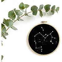 renna deluxe Sternzeichen SCHÜTZE in Gold, Druck Bild im Stickrahmen Wandbild Wandbild Wanddekoration Kunstdruck rundes Bild