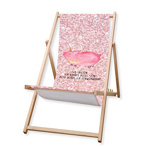 Mr. & Mrs. Panda Liege, Liegestuhl, Gartenliege Einhorn Schweinhorn mit Spruch - Farbe Glitzer Rosa