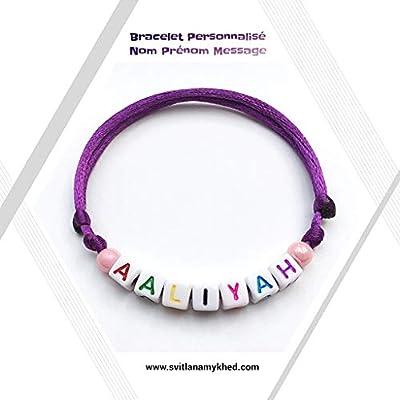 Bracelet AALIYAH personnalisé avec prénom, nom, texte, message, surnom, logo, initiale. (réversible) pour adulte, enfant. Création sur mesure! Bijoux lettres d'alphabet A - Z (couleurs aux choix)