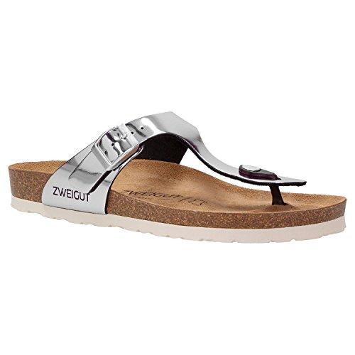 Zweigut® -Hamburg- luftig #555 Damen Zehentrenner Sandalen Schuhe Sommer mit Soft Leder-Komfort-Fußbett, Schuhgröße:36, Farbe:Silber metallic