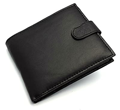 Ods:uk® Mens High Quality Luxury Soft Leather Tri Fold Wallet Credit Card Slots, Id Window And Coin Pocket