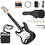 Docooler Muslady Electric Guitar Solid Wood Paulownia Body Maple Neck 21 Frets 6 String with Speaker Pitch Pipe Guitar Bag Strap Picks Left Hand