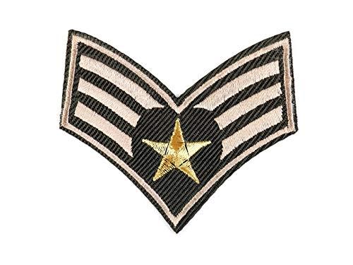 gedeacc-kreativ Bügelbild Patch Applikation zum Aufbügeln Army Militär Wappen Abzeichen grau 5,5 cm x 6,5 cm Wappen-patches