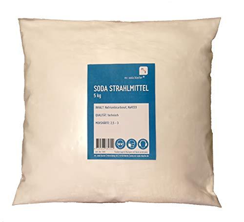 Soda Mineral Strahlmittel 0,1-0,3 mm, 5 kg, optimal für Soda Blaster Strahlpistolen, Strahlsoda (Sandstrahlmittel) zum Backpulverstrahlen