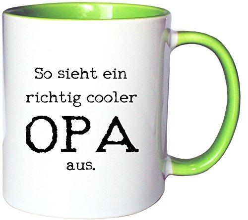 Mister Merchandise Kaffeetasse Becher So sieht ein richtig cooler Opa aus Großvater Grandad, Farbe: Weiß-Grün