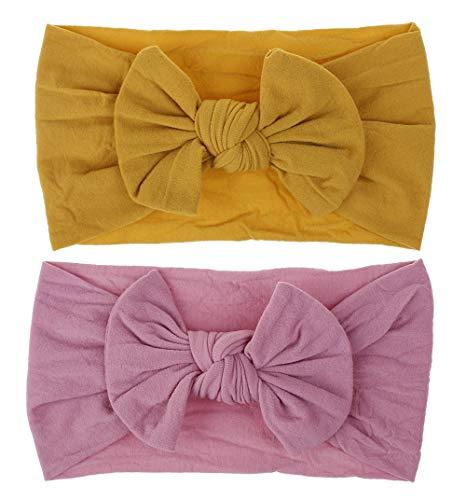 chmuck Nylon Weich Kinderschmuck Haarband Cute Accessories für Mädchen junge verkleiden sich 0-7 Jahre altes Baby (2 PACK (gelb + Rose)) ()