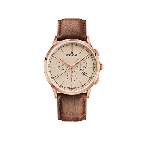 EDOX Men's Chronograph Quartz Watch with Leather Strap 10236-37RC-BEIR